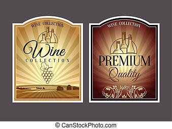 set of labels for wine.