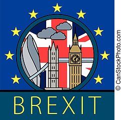 Brexit Great Britain leaving EU vector illustration