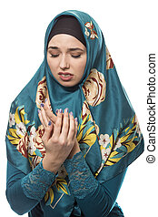 Female Wearing Hijab Looking Disgusted - Female wearing a...