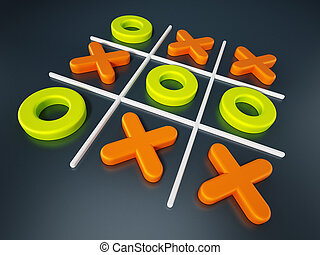 Tic tac toe game isolated on black background. 3D...