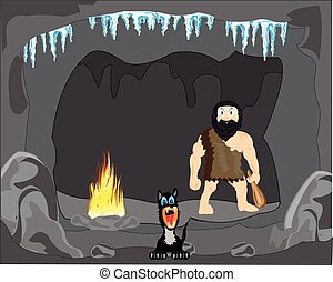 Primitive person in cave - The Primitive person and dog in...