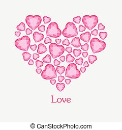 Vector illustration of diamond hearts with text