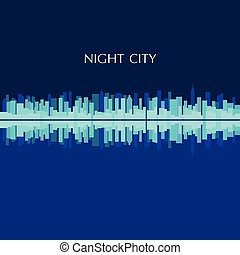 Vector illustration of city skyline panorama at night