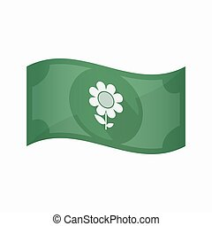 Isolated bank note with a flower - Illustration of an...