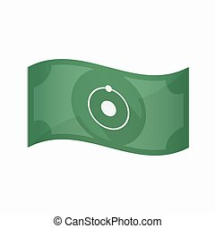 Isolated bank note with an atom - Illustration of an...