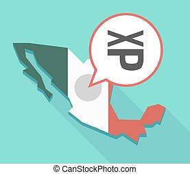 Long shadow Mexico map with  a Tongue sticking text face emoticon