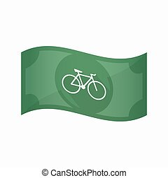 Isolated bank note with a bicycle - Illustration of an...