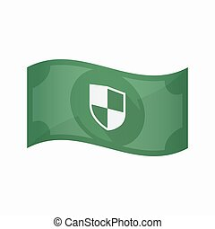 Isolated bank note with a shield - Illustration of an...