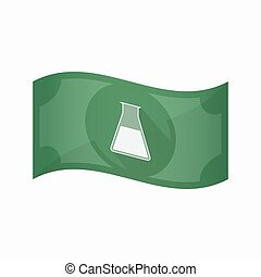 Isolated bank note with a flask - Illustration of an...