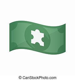 Isolated bank note with a puzzle piece - Illustration of an...