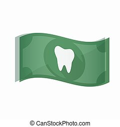 Isolated bank note with a tooth - Illustration of an...