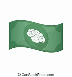 Isolated bank note with a brain - Illustration of an...