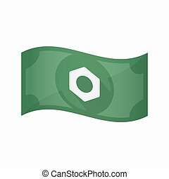 Isolated bank note with a nut - Illustration of an isolated...