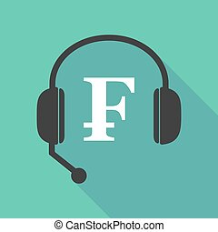 Long shadow headphones with a swiss franc sign -...