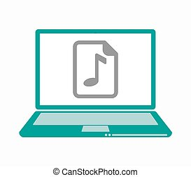 Isolated laptop with a music score icon - Illustration of an...