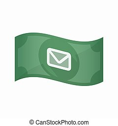 Isolated bank note with an envelope - Illustration of an...