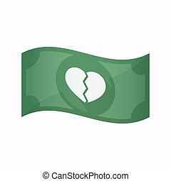 Isolated bank note with a broken heart - Illustration of an...