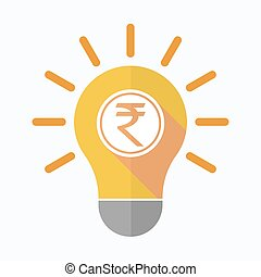 Isolated light bulb with  a rupee coin icon