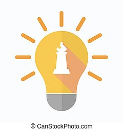 Isolated light bulb with a bishop chess figure -...