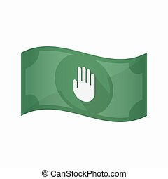 Isolated bank note with a hand - Illustration of an isolated...