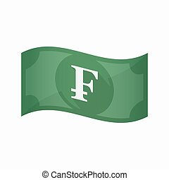 Isolated bank note with a swiss franc sign - Illustration of...