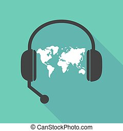 Long shadow headphones with a world map