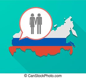 Long shadow Russia map with a heterosexual couple pictogram...