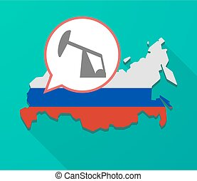 Long shadow Russia map with a horsehead pump - Illustration...