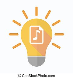 Isolated light bulb with a music score icon - Illustration...