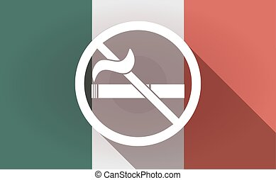 Long shadow Mexico flag with a no smoking sign -...