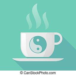 Long shadow mug with a ying yang - Illustration of a long...