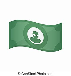 Isolated bank note with a thief - Illustration of an...