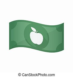 Isolated bank note with an apple - Illustration of an...