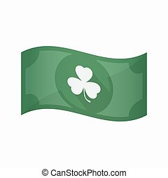 Isolated bank note with a clover - Illustration of an...