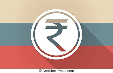 Long shadow Russia map with a rupee coin icon - Illustration...