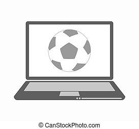 Isolated laptop with  a soccer ball