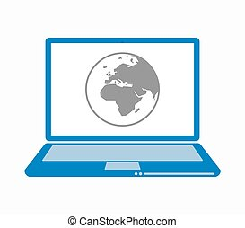 Europa, computador portatil,  áfrica, aislado, regiones,  Asia, mundo, globo
