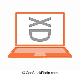 Isolated laptop with   a laughing text face