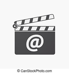 Isolated clapper board with an at sign