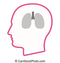 Isolated male head with  a healthy human lung icon