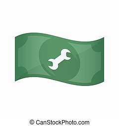 Isolated bank note with a wrench - Illustration of an...