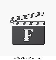 Isolated clapper board with a swiss franc sign -...