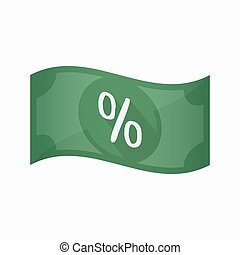 Isolated bank note with a discount sign - Illustration of an...