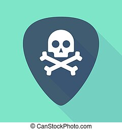 Long shadow guitar pick with a skull