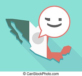 Long shadow Mexico map with  a wink text face emoticon