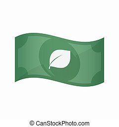 Isolated bank note with a leaf - Illustration of an isolated...