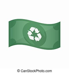 Isolated bank note with a recycle sign - Illustration of an...