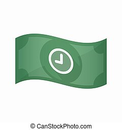 Isolated bank note with a clock - Illustration of an...