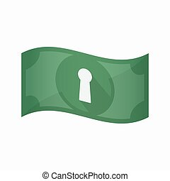Isolated bank note with a key hole - Illustration of an...