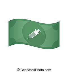 Isolated bank note with a syringe - Illustration of an...